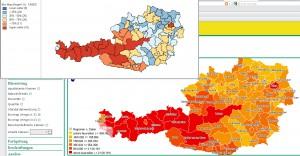 Vergleich der Boxmap-Darstellung von GeoDa und polwebgis anhand der Nächtigungszahlen von 2008