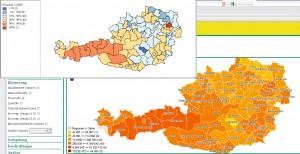 Vergleich der Perzentil-Karte zwischen GeoDa und polwebgis anhand der Nächtigungsdaten von 2008